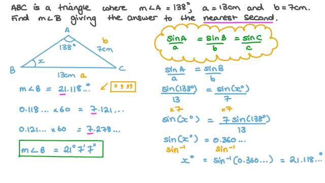 Using the Sine Rule to Find the Size of an Angle of a Triangle