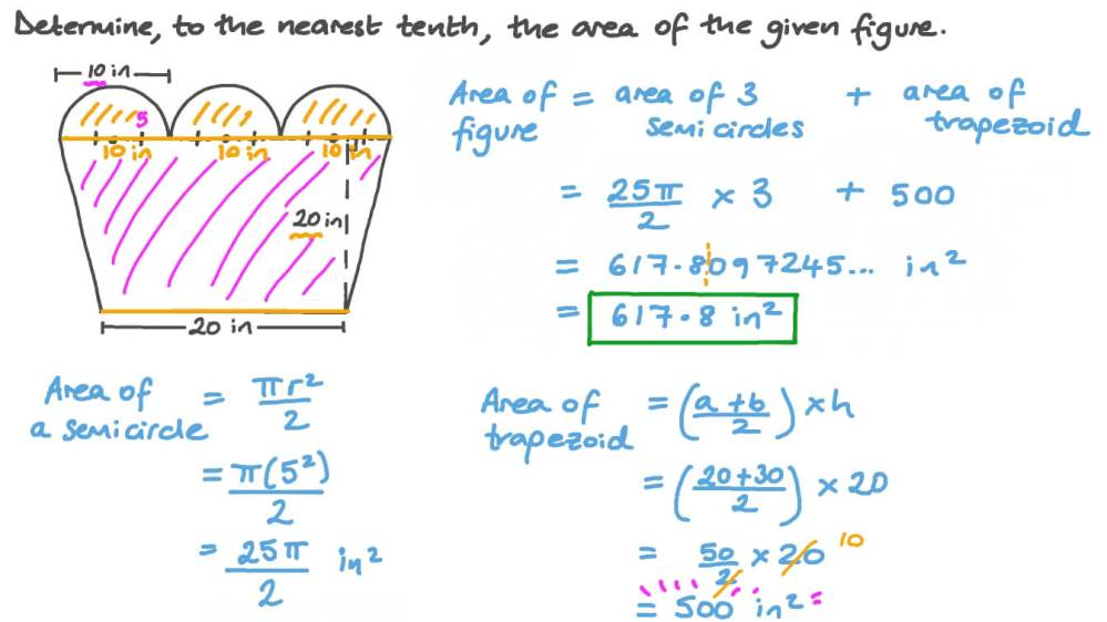 medium resolution of Question Video: Finding the Area of a Composite Shape Including Semicircles  and a Trapezoid   Nagwa