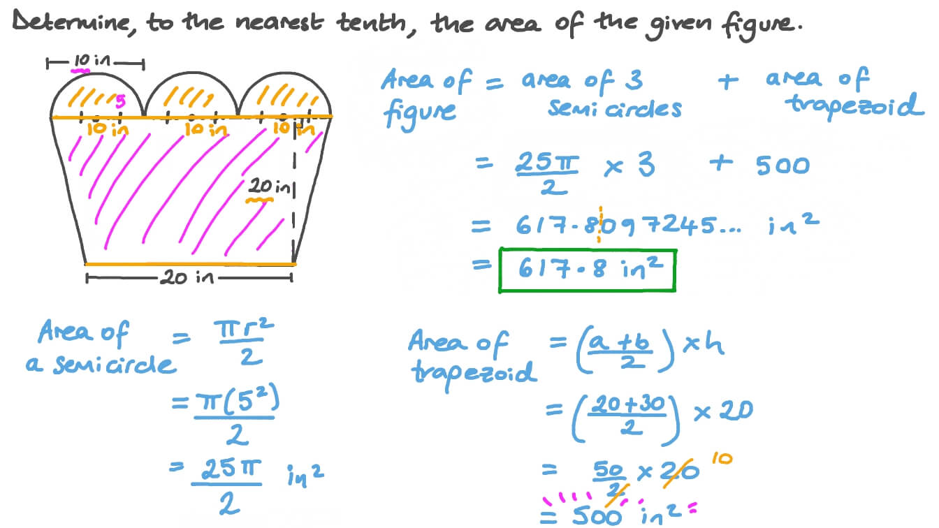 hight resolution of Question Video: Finding the Area of a Composite Shape Including Semicircles  and a Trapezoid   Nagwa