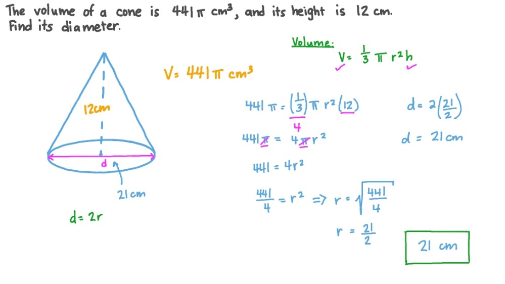 medium resolution of Question Video: Finding the Base Diameter of a Cone given Its Volume and  Height   Nagwa