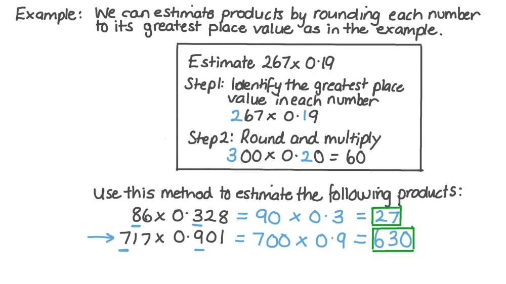 medium resolution of Lesson: Estimating Products: Decimals by Whole Numbers   Nagwa