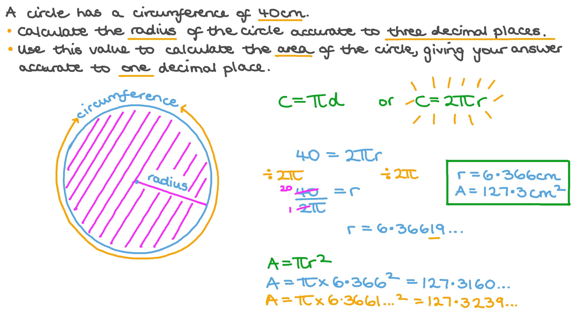 hight resolution of Question Video: Finding the Radius and Area of a Circle Given Its  Circumference   Nagwa