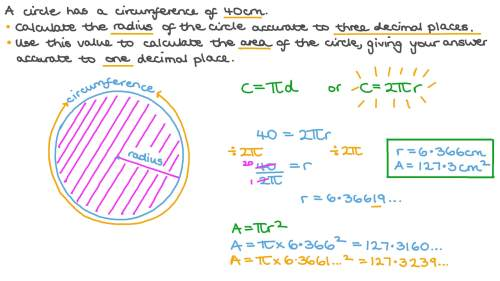 small resolution of Question Video: Finding the Radius and Area of a Circle Given Its  Circumference   Nagwa