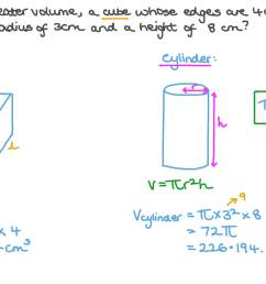 Question Video: Comparing the Volumes of a Cylinder and a Cube given Their  Dimensions   Nagwa [ 756 x 1344 Pixel ]
