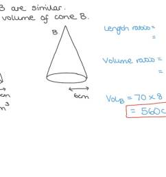 Question Video: Calculating the Volume of a Cone given the Volume of a  Similar One   Nagwa [ 756 x 1344 Pixel ]