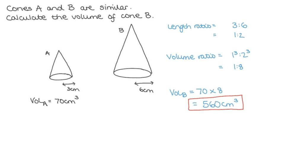 medium resolution of Question Video: Calculating the Volume of a Cone given the Volume of a  Similar One   Nagwa
