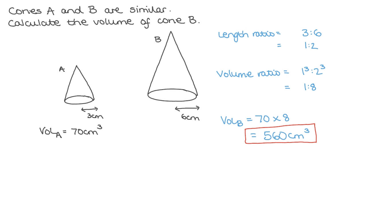 hight resolution of Question Video: Calculating the Volume of a Cone given the Volume of a  Similar One   Nagwa