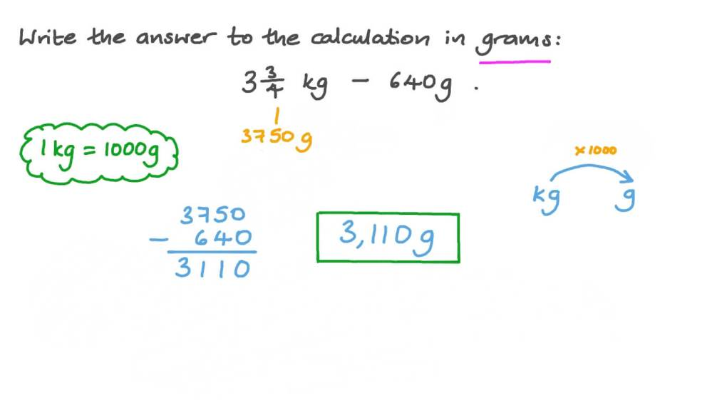 medium resolution of Question Video: Converting Weight from Kilograms to Grams   Nagwa