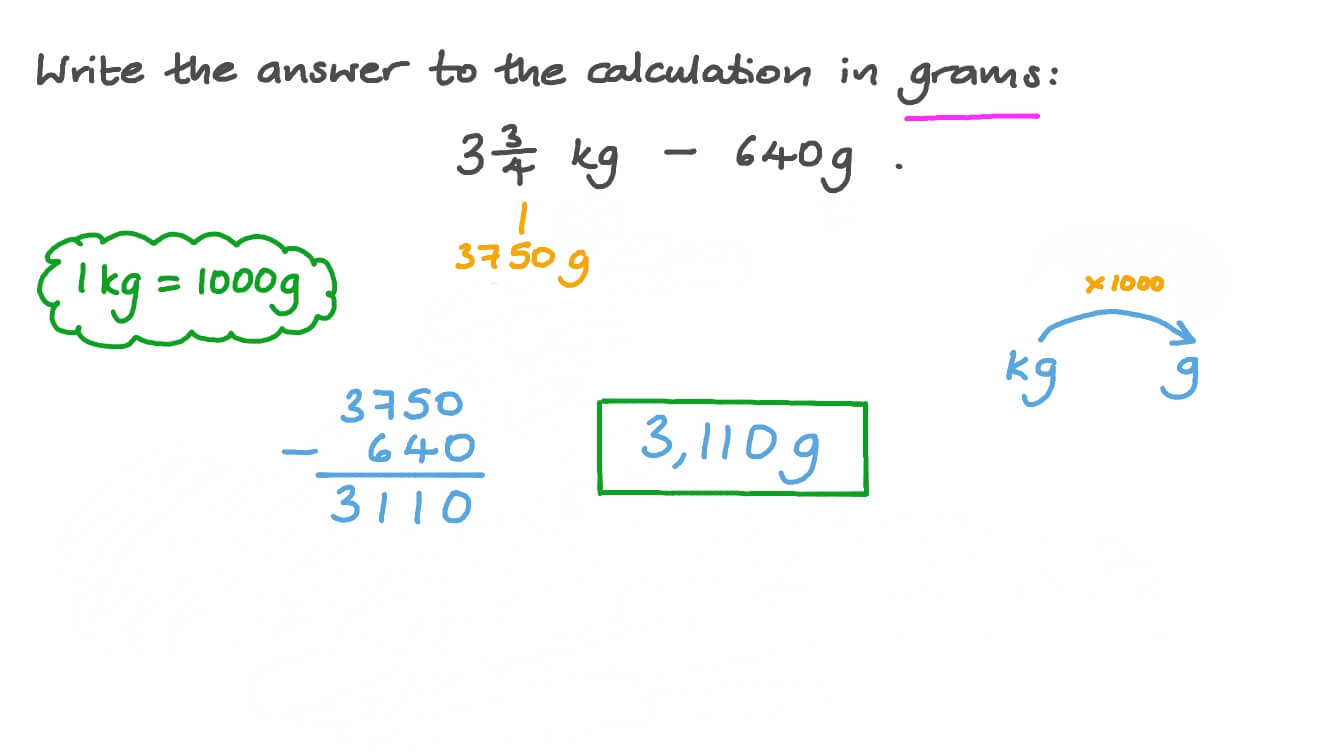 hight resolution of Question Video: Converting Weight from Kilograms to Grams   Nagwa