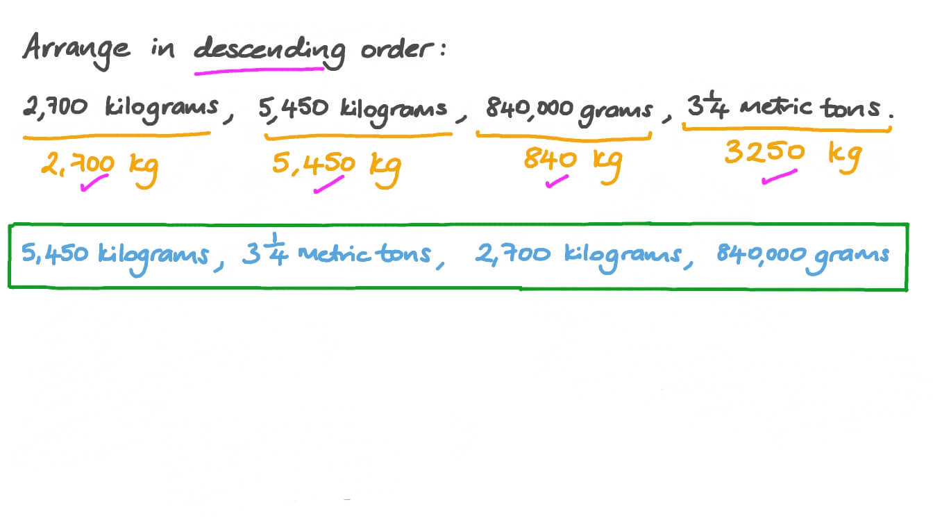 hight resolution of Question Video: Arranging Masses in Ascending Order by Converting Their  Units   Nagwa