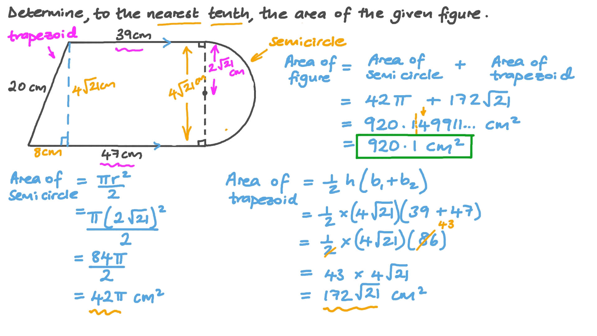 hight resolution of Question Video: Determining the Area of a Composite Figure   Nagwa
