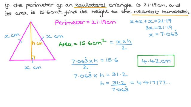 Finding the Height of an Equilateral Triangle given Its Area and Perimeter