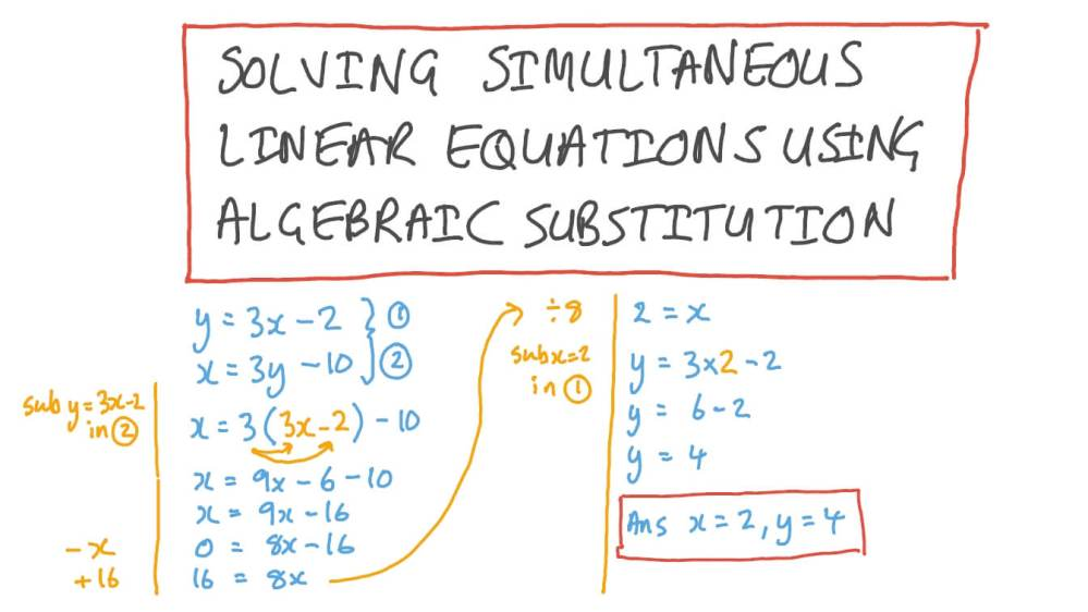 medium resolution of Lesson: Solving Systems of Linear Equations Using Substitution   Nagwa
