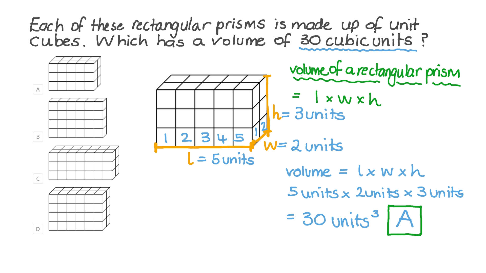 hight resolution of Question Video: Finding the Volume of a Rectangular Prism by Counting Unit  Cubes   Nagwa