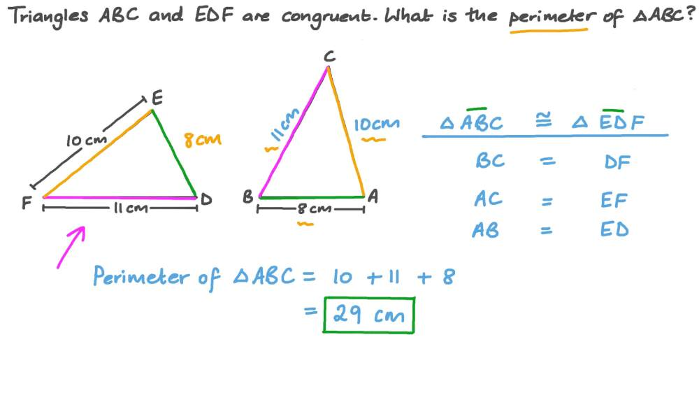 medium resolution of Question Video: Finding the Perimeter of a Triangle Using the Congruence of  Triangles   Nagwa