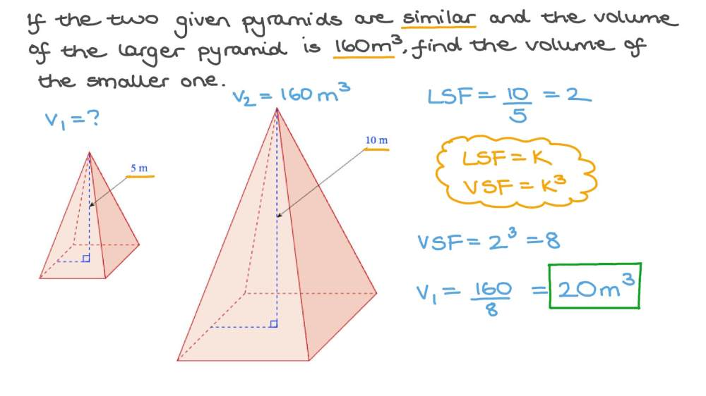 medium resolution of Question Video: Finding the Volume of a Pyramid Using Similarity   Nagwa