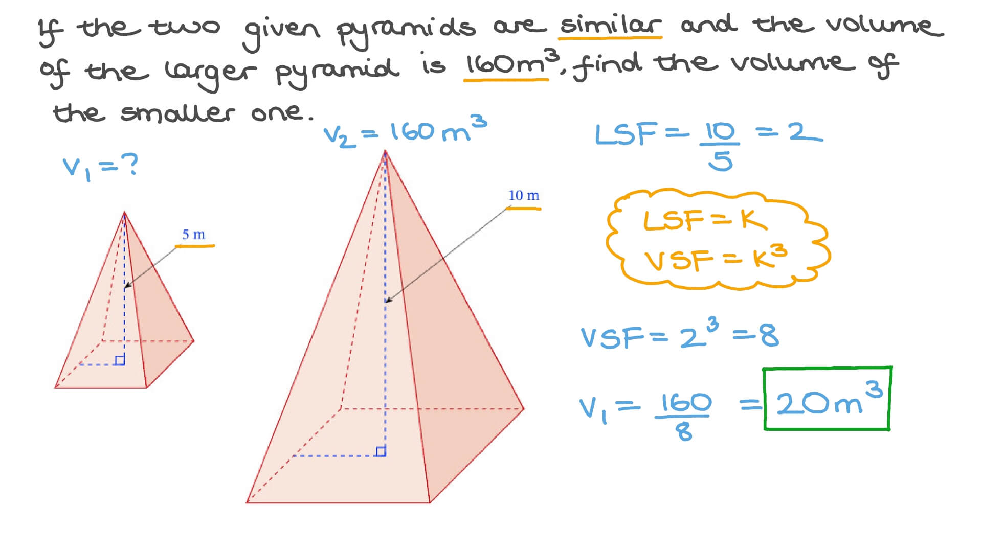 hight resolution of Question Video: Finding the Volume of a Pyramid Using Similarity   Nagwa