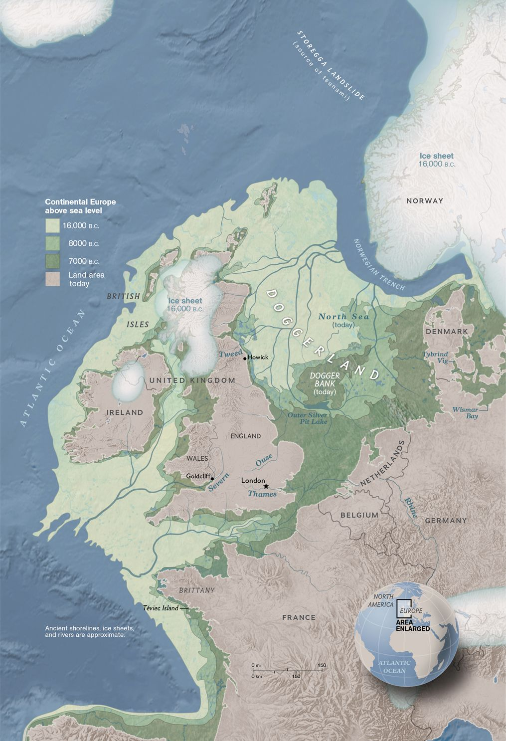 At the end of the last ice age, Britain formed the northwest corner of an icy continent. Warming climate exposed a vast continental shelf for humans to inhabit. Further warming and rising seas gradually flooded low-lying lands. Some 8,200 years ago, a catastrophic release of water from a North American glacial lake and a tsunami from a submarine landslide off Norway inundated whatever remained of Doggerland.