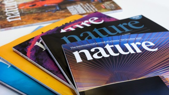 Nature journals arranged on a table