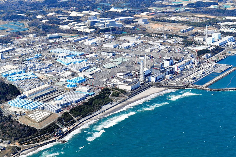 Aerial view of tanks holding radiation-contaminated water on the Fukushima Daiichi Nuclear Power Plant site.