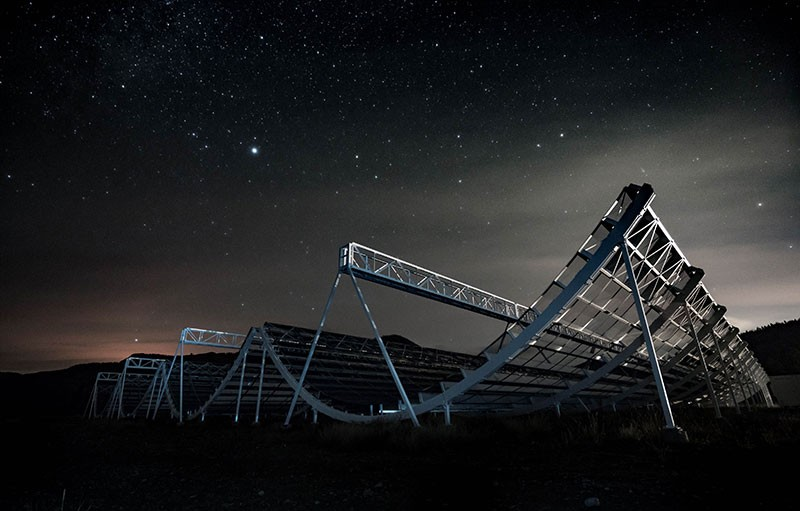 The CHIME radio telescope at the Dominion Radio Astrophysical Observatory in Kaleden, British Columbia, Canada