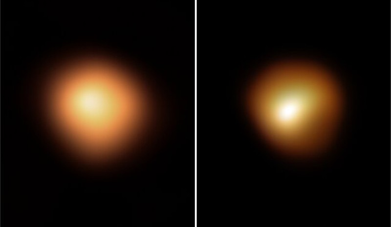 Composite image of Betelgeuse's surface taking in January 2019 (left) and March 2020 (right)
