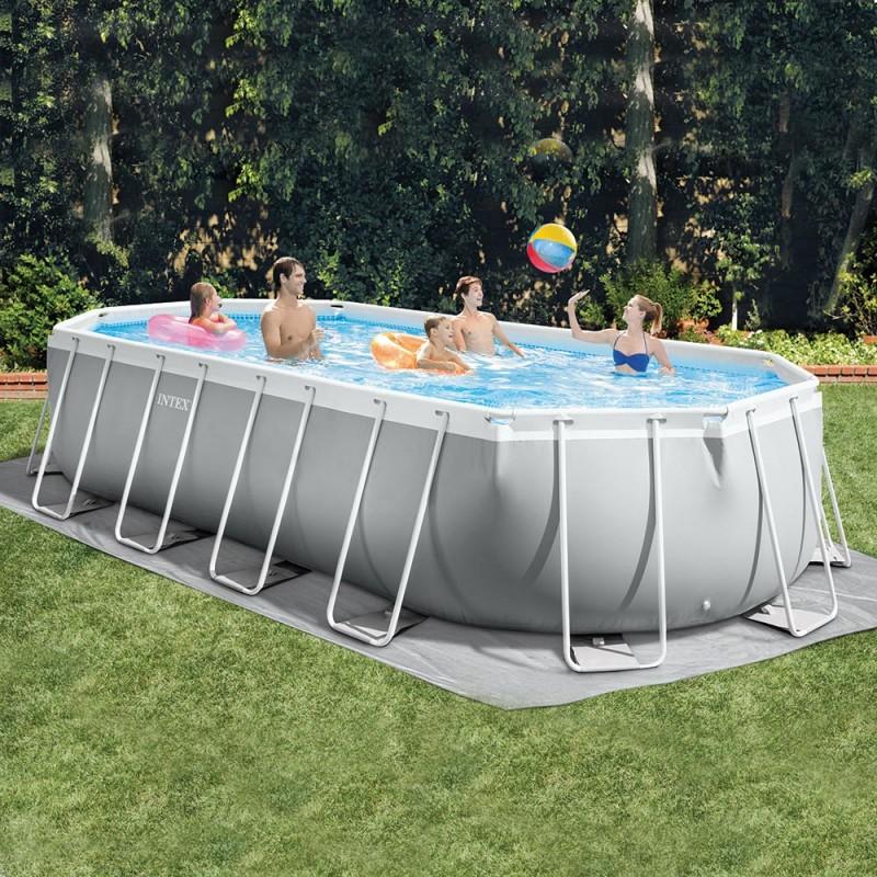 piscine tubulaire intex ovale prism 6 10 x 3 05 x 1 22 m