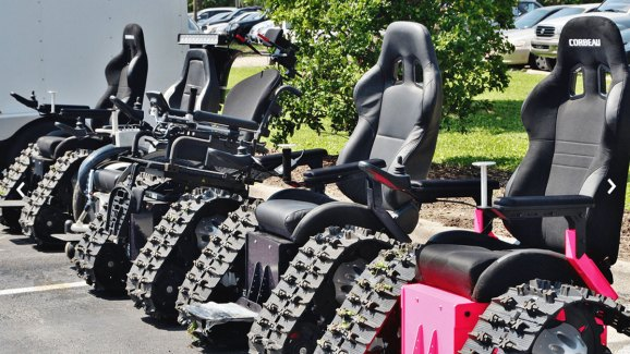 tank chair wheelchair multi coloured chairs man creates off road for wife nbc chicago