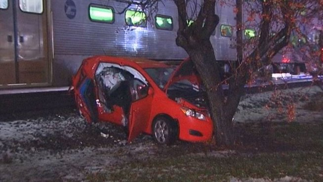 3 Injured in Train, Car Crash