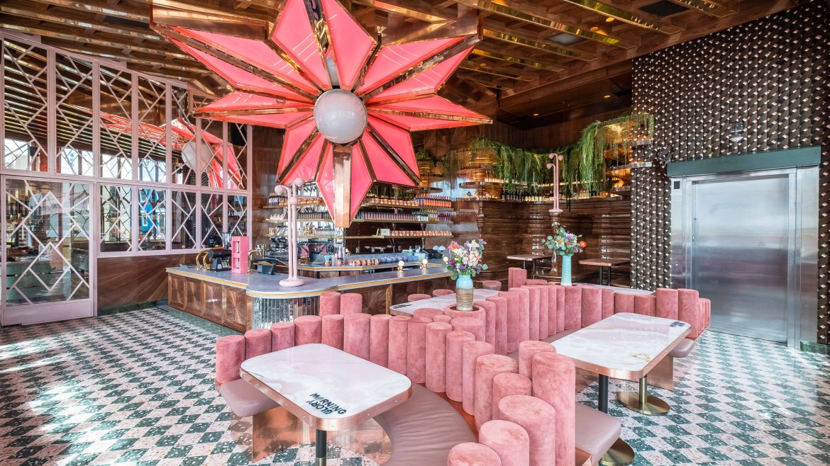 Interior photo of the Morning Glory breakfast restaurant in San Diego