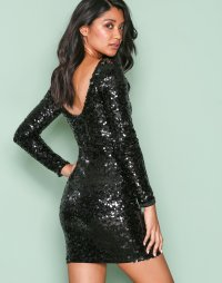 Tight Sequin Dress - Nly One - Black - Party Dresses ...