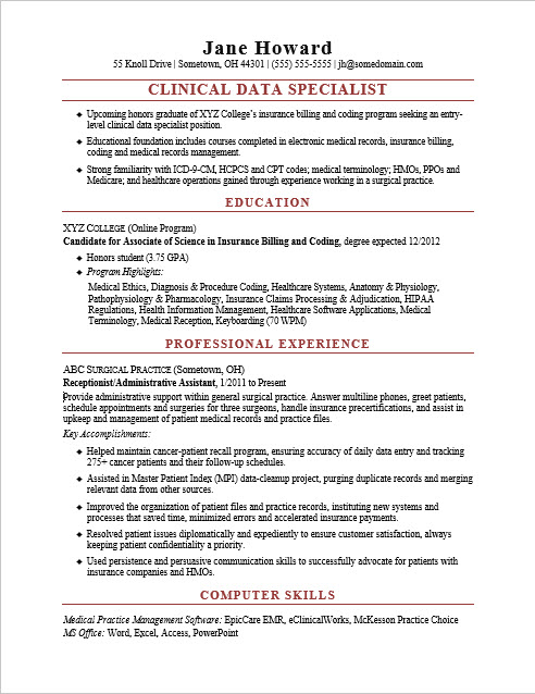 EntryLevel Clinical Data Specialist Resume Sample