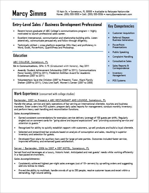 EntryLevel Sales Resume Sample  Monstercom