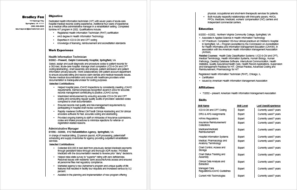 Health Information Technician Sample Resume  Monstercom