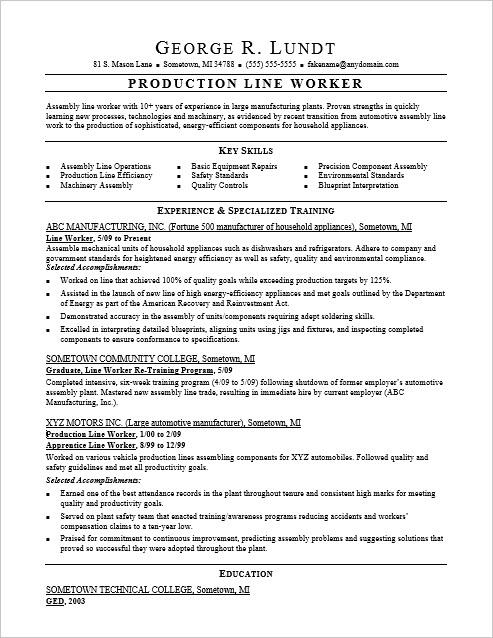Line Resume Production Samples Worker