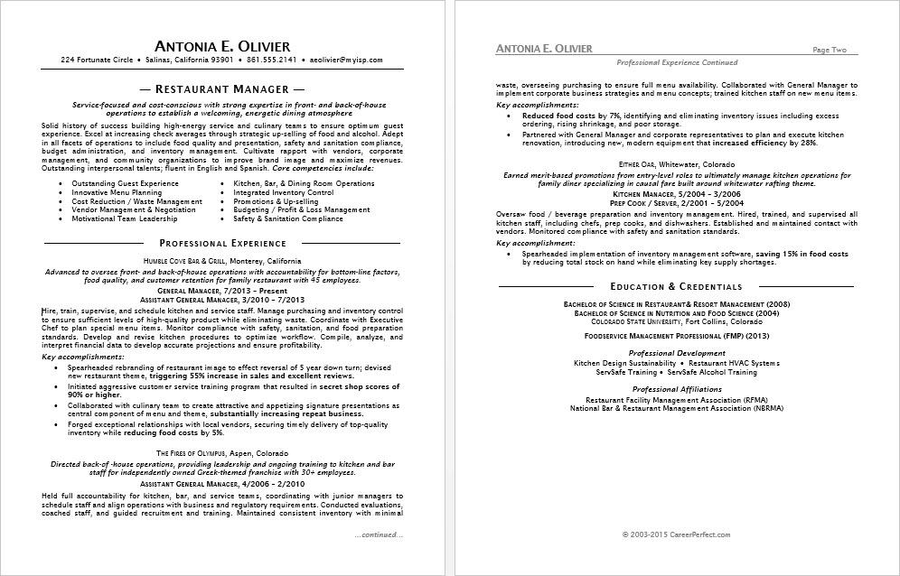 sample resume restaurant manager