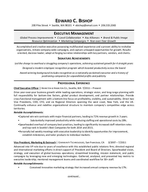 example resume executive assistant