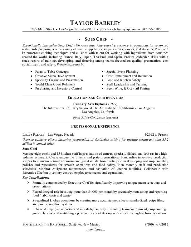 sous chef chef resume sample