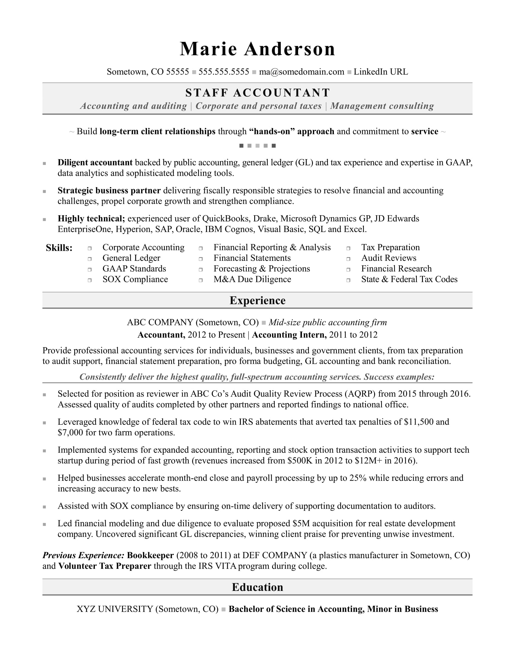 Tally Resume Sample Accounting Resume Sample Monster