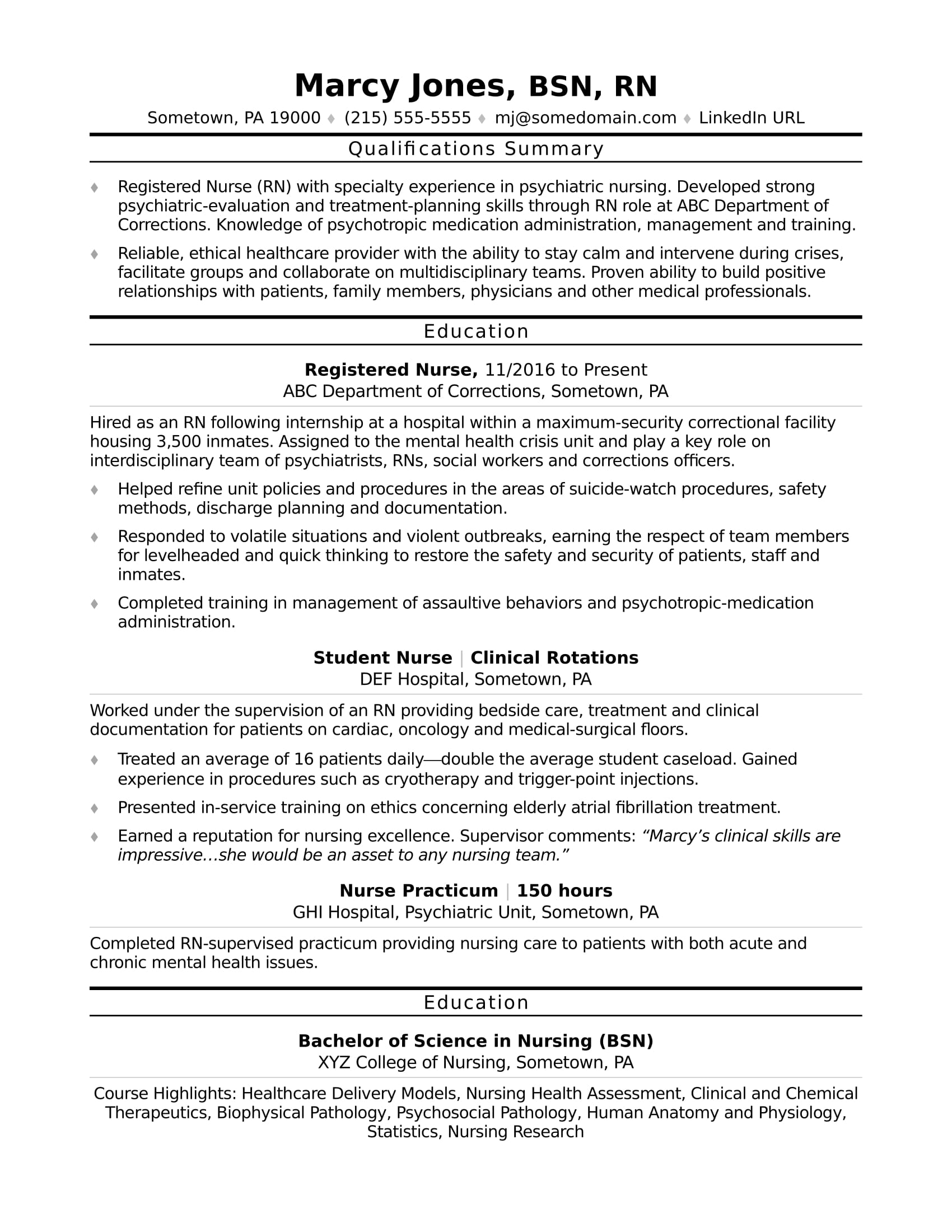 examples of functional resumes for nurses