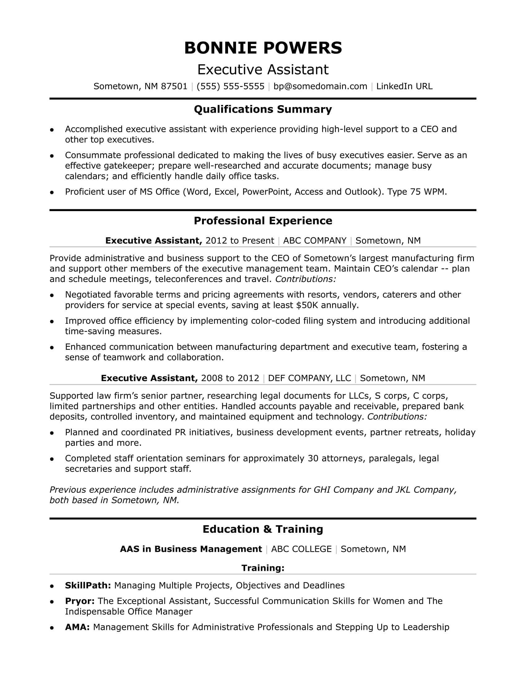 sample administrative resumes 2 pages