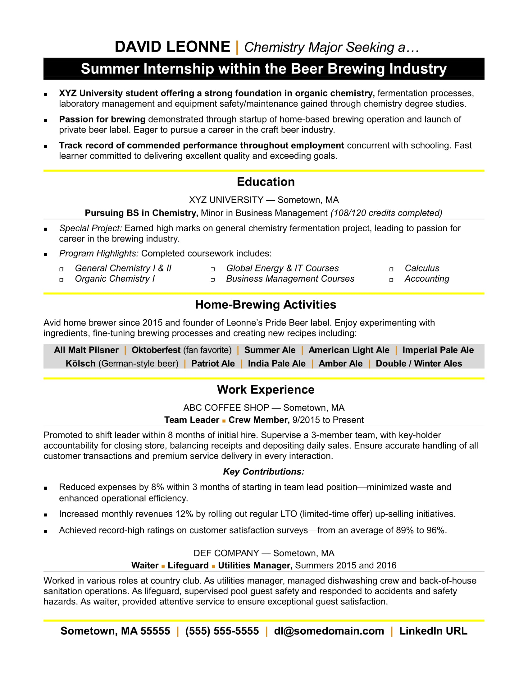 Writing Resume For Internship Internship Resume Sample Monster