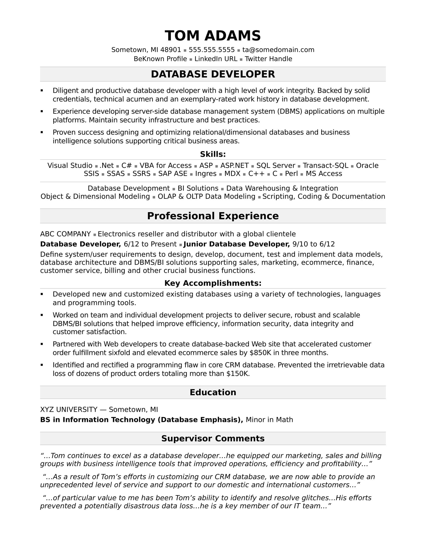 sample resumes in development