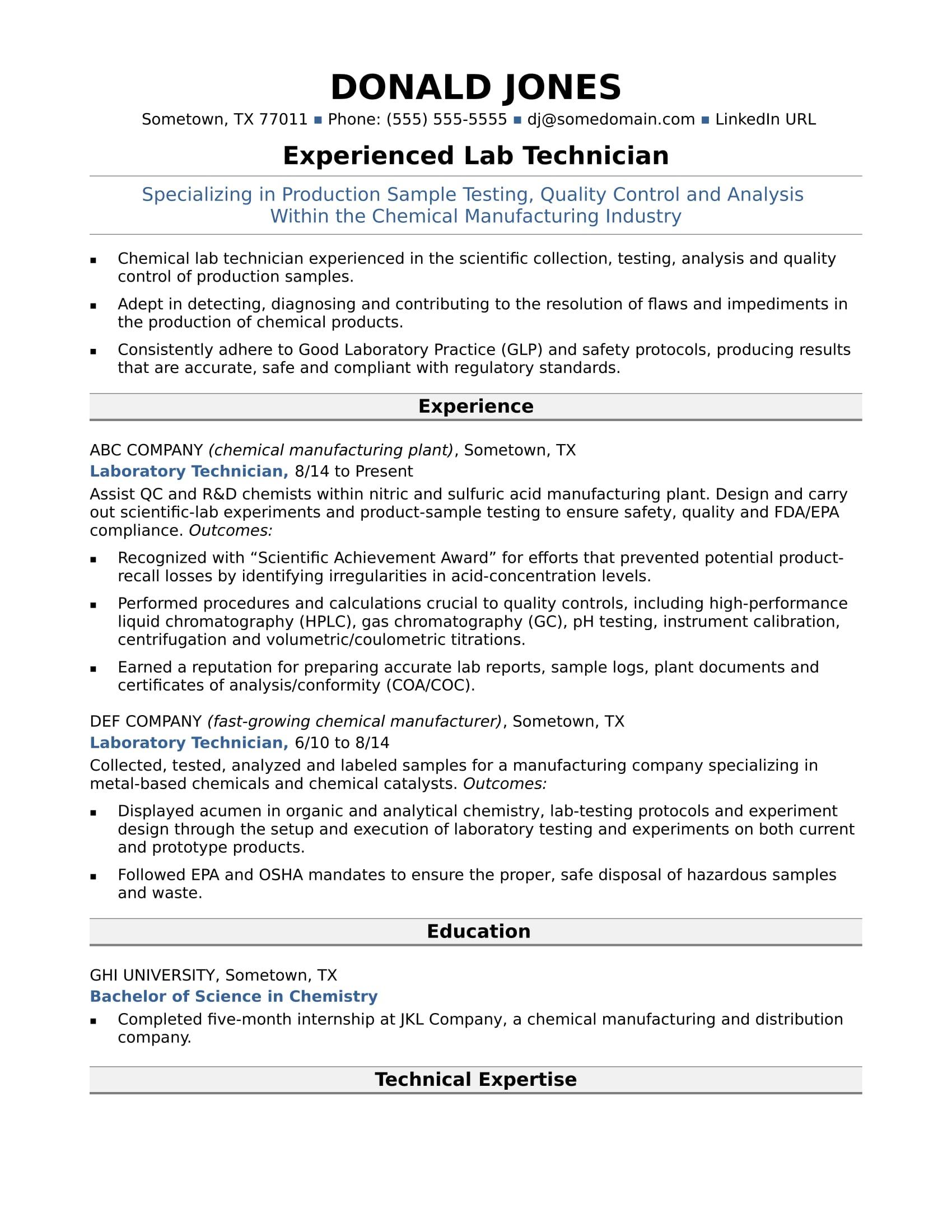 Midlevel Lab Technician Resume Sample  Monstercom