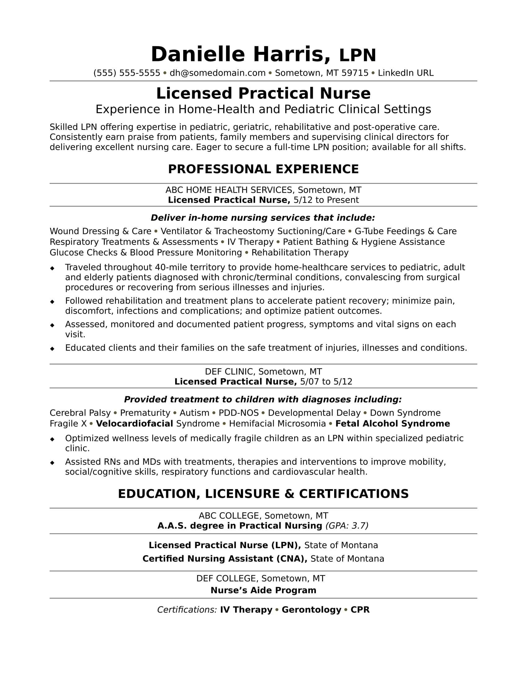 Licensed Practical Nurse Resume Sample  Monstercom