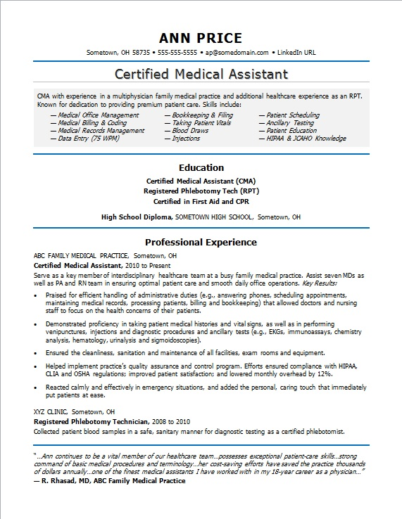 medical assistant job description for resumes