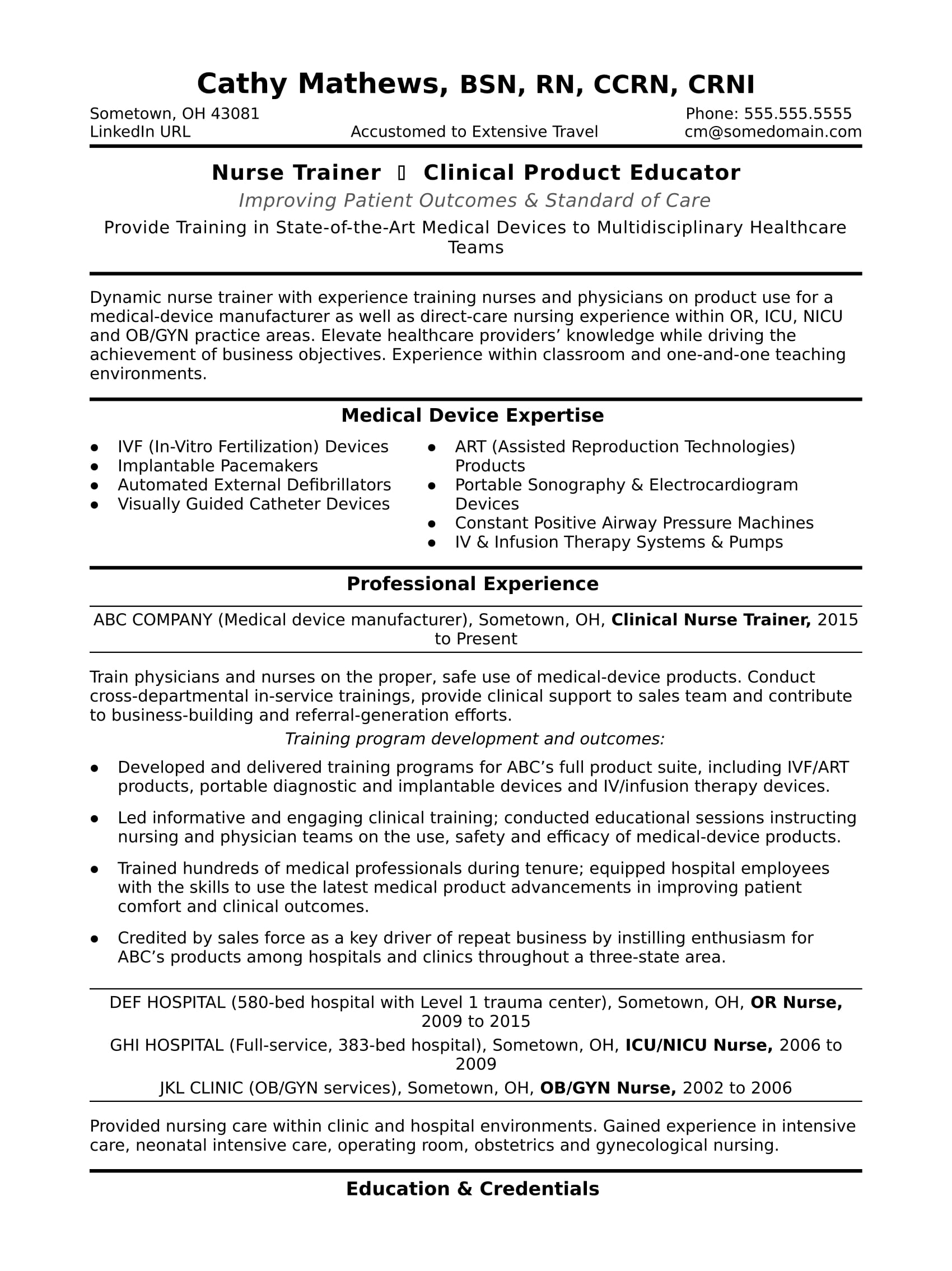 Nurse Trainer Resume Sample  Monstercom