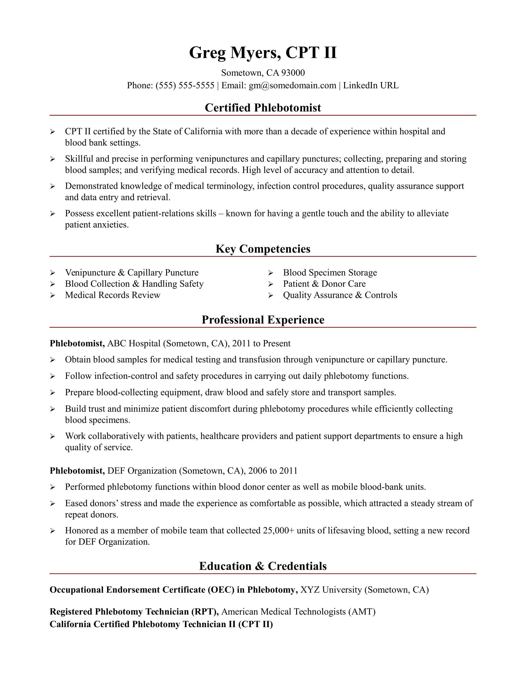 Job Description Of A Phlebotomist On Resume Phlebotomist Resume Sample Monster