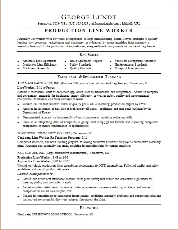 production lead resume template