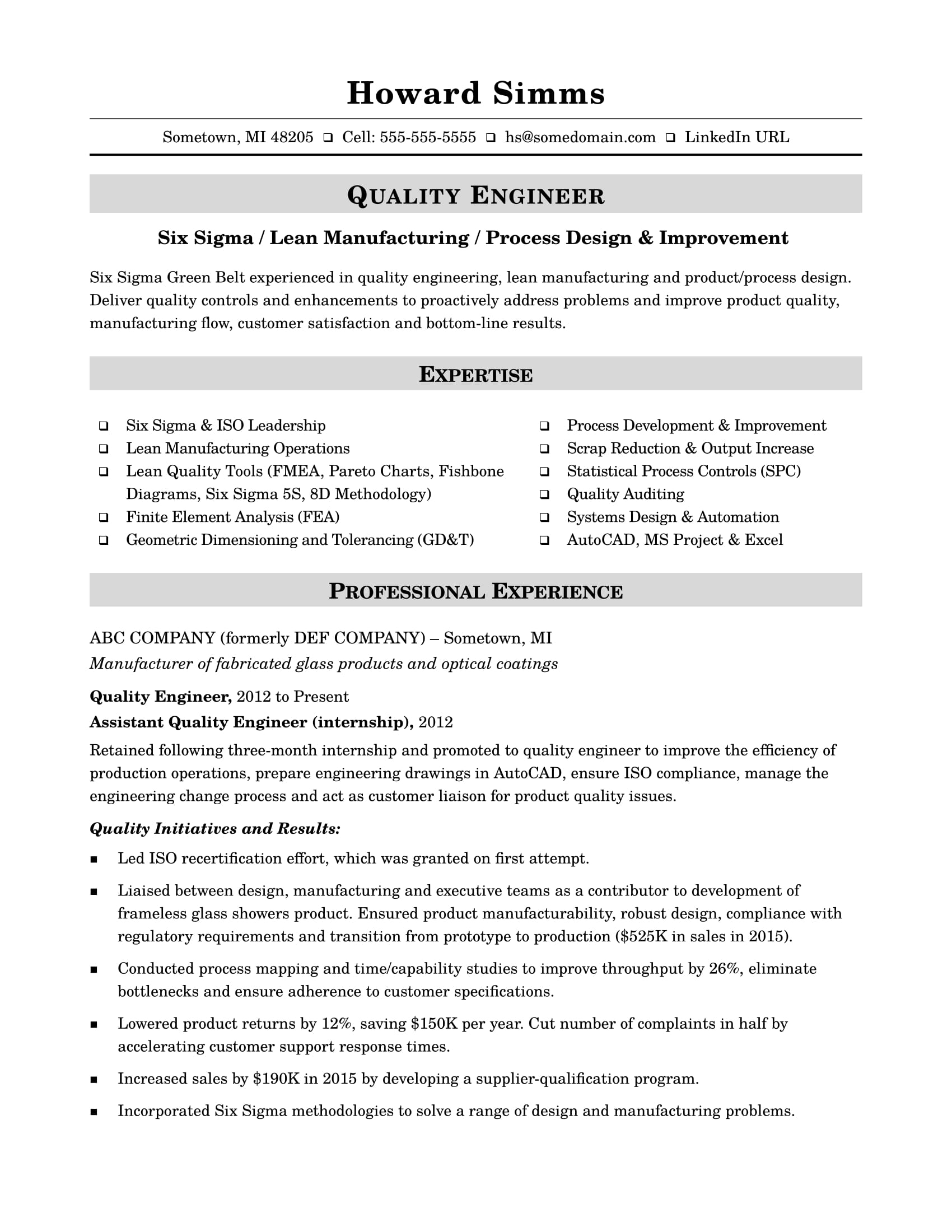 Resume Format For Quality Control Engineer Sample Resume For A Midlevel Quality Engineer Monster
